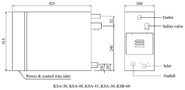 Máy xông hơi ướt COASTS KSA nhập khẩu - Bản vẽ kỹ thuật KSA30-60