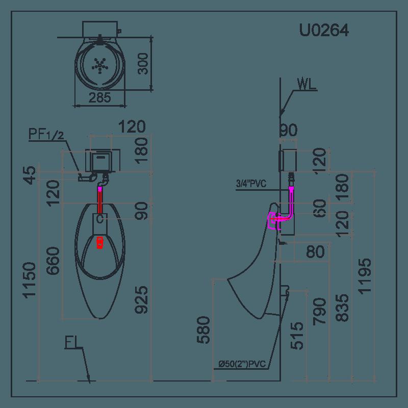 Bồn tiểu nam cảm ứng Caesar U0264 +bộ xả A637