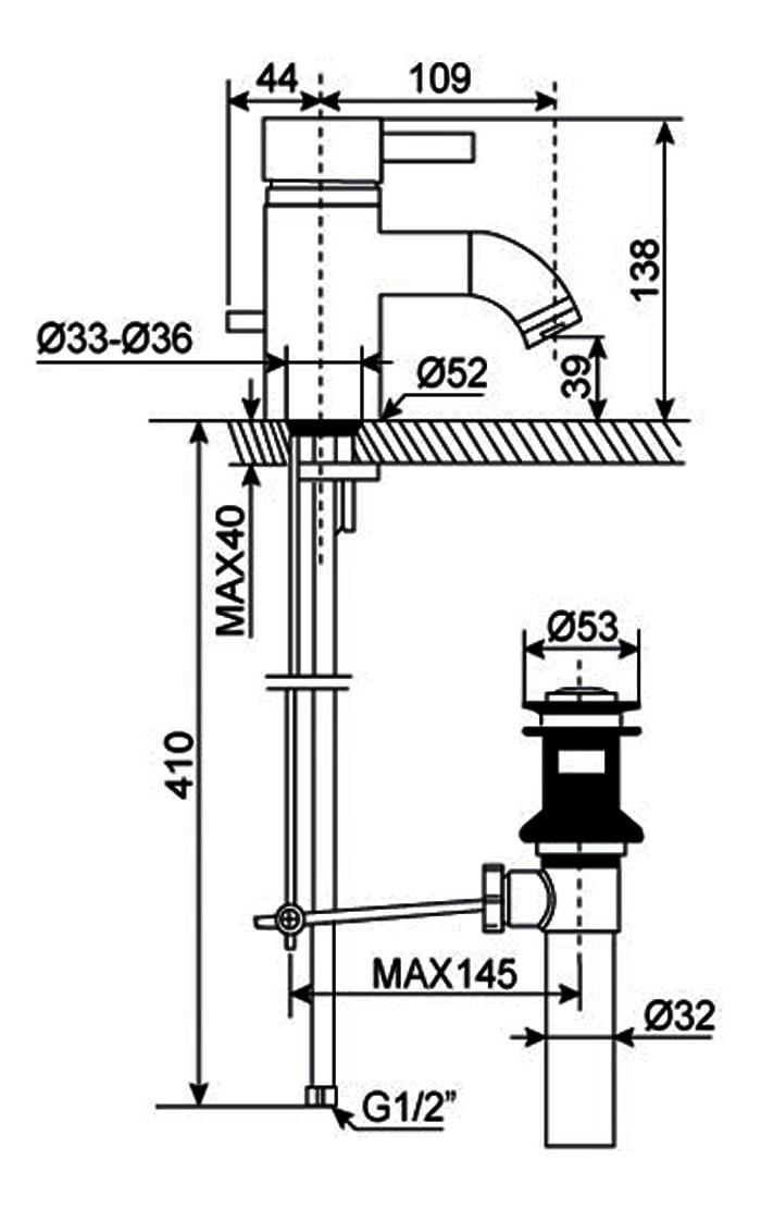 Vòi lavabo nóng lạnh American WF-2801