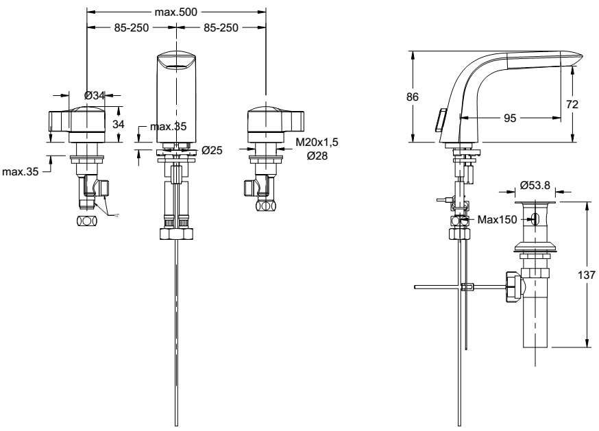 Vòi lavabo nóng lạnh American WF-6803