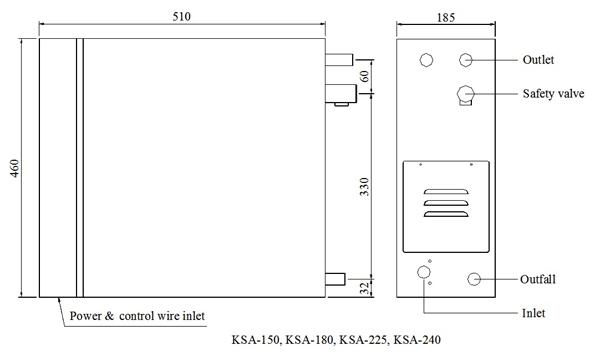 Máy xông hơi ướt COASTS KSA nhập khẩu - Bản vẽ kỹ thuật KSA150-240