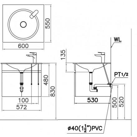 Kết quả hình ảnh cho bản vẽ kỹ thuật chậu lf5038