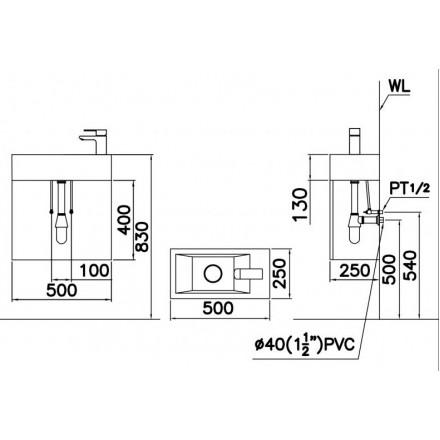 Kết quả hình ảnh cho bản vẽ kỹ thuật chậu lf5239S
