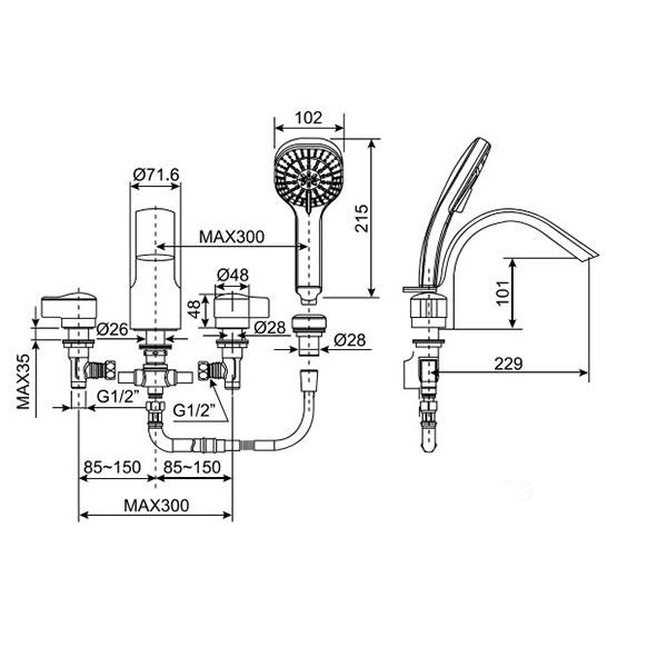 Vòi sen xả bồn American Standard WF-6800