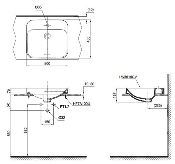 Bản vẽ kỹ thuật - Chậu rửa lavabo dương bàn Toto LT5615C