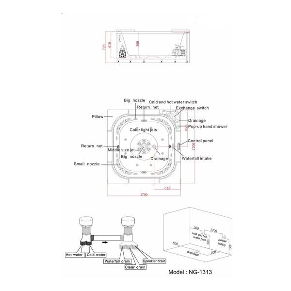 Bồn tắm massage Nofer NG-1313 (có sục khí)
