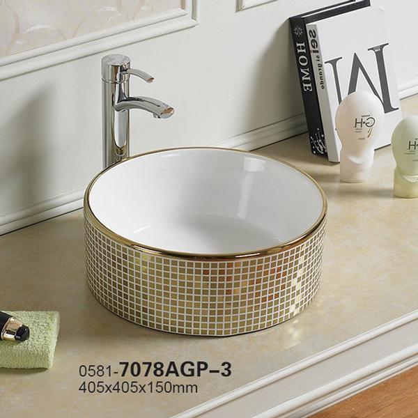 Chậu rửa mặt lavabo Lộc An Phát 7078AGP-3