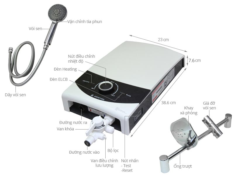 Bình nóng lạnh trực tiếp Ariston Aures Smart Square SMC45PE-VN