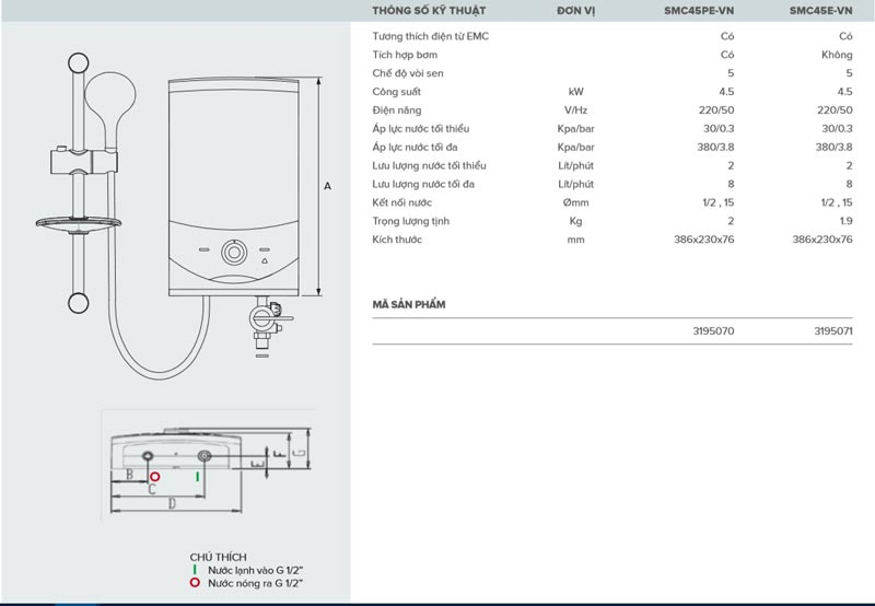 Bình nóng lạnh trực tiếp Ariston Aures Smart Square SMC45PE-VN - Bản vẽ kỹ thuật lắp đặt