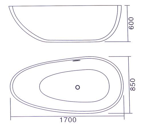 Bồn tắm ngâm độc lập Laiwen W-1008 - bản vẽ kỹ thuật