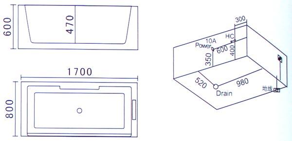 Bồn tắm massage Laiwen W-3007 - bản vẽ kỹ thuật