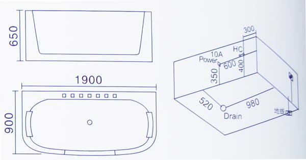 Bồn tắm massage Laiwen W-3065