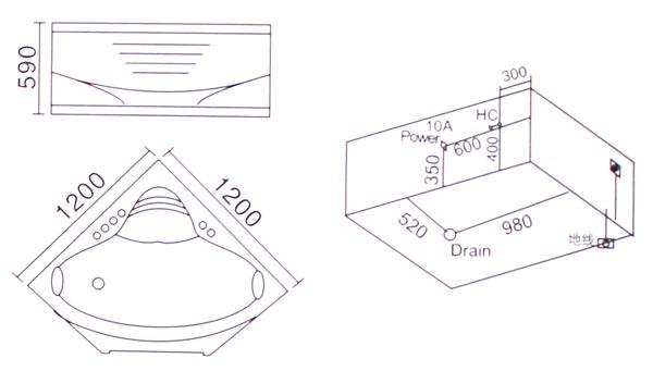 Bồn tắm góc massage Laiwen W-3206 - bản vẽ kỹ thuật