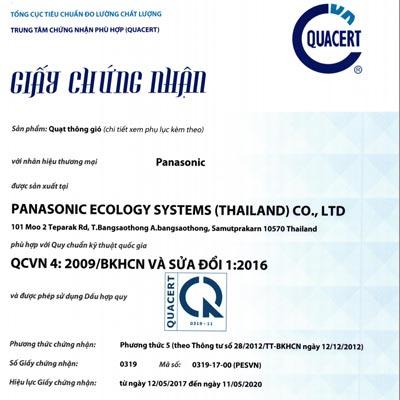 Giấy chứng nhận hợp quy xuất xưởng và chất lượng CO,CQ của quạt hút thông gió Panasonic
