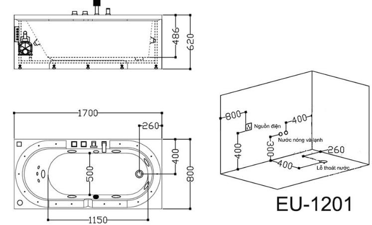 Bản vẽ bồn tắm massage EuroKing EU-1201