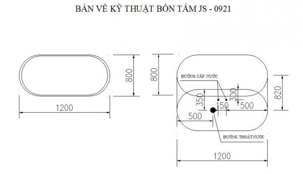 Bồn tắm mini Govern JS-0921 - bản vẽ kỹ thuật