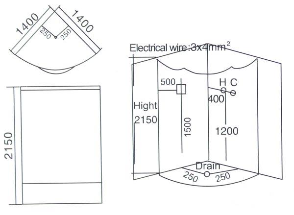 Phòng xông hơi ướt massage LaiWen W-6027 - bản vẽ kỹ thuật lắp đặt