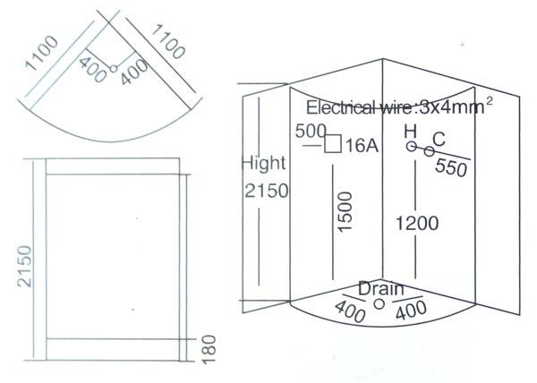 Phòng xông hơi ướt massage LaiWen W-6029 - bản vẽ kỹ thuật lắp đặt