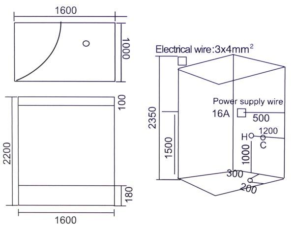 Phòng xông hơi khô, ướt massage LaiWen W-7010 - bản vẽ kỹ thuật lắp đặt