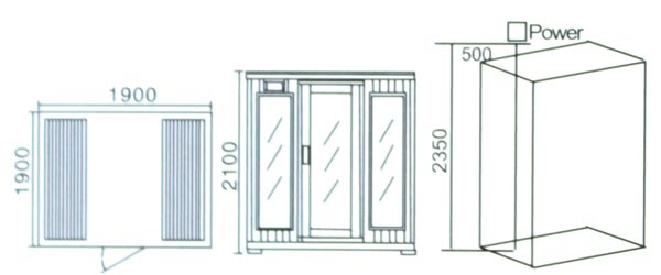 Phòng xông hơi khô hồng ngoại LaiWen W-8019- bản vẽ kỹ thuật lắp đặt