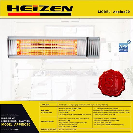 Đèn sưởi nhà tắm Heizen APPINO 20 ( có điều khiển)