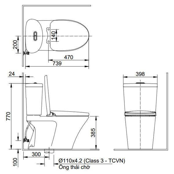 Bồn cầu một khối Inax AC-700VAN - Bản vẽ kỹ thuật