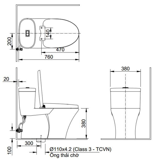 Bồn cầu một khối Inax AC-959VAN - Bản vẽ kỹ thuật