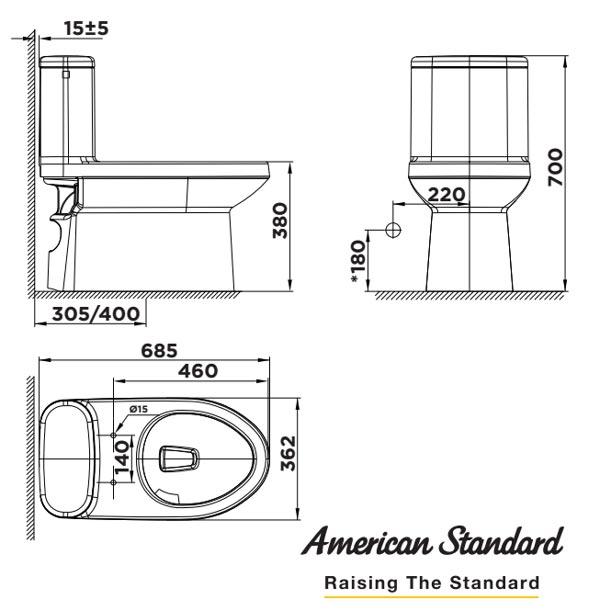 Bồn cầu một khối American Cadet - Bản vẽ kỹ thuật
