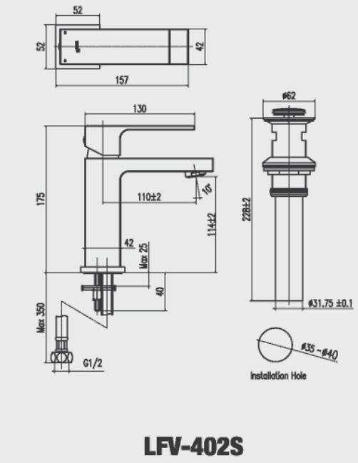 Vòi rửa lavabo nóng lạnh Inax LFV-402S
