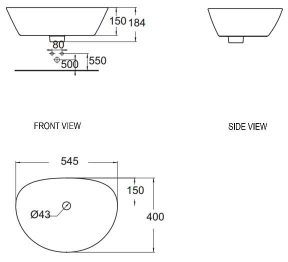 Chậu rửa mặt lavabo đặt bàn American WP-F633 - Bản vẽ kỹ thuật