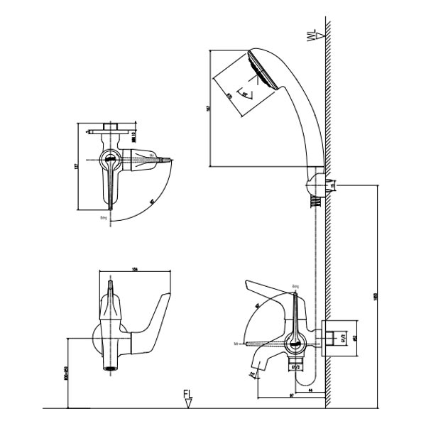 Bản vẽ kỹ thuật vòi sen tắm lạnh INAX BFV-17-4C