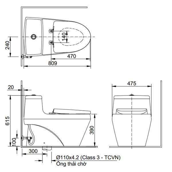 Bản vẽ kỹ thuật bồn cầu 1 khối Inax AC-1035VN