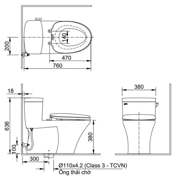 Bản vẽ kỹ thuật lắp đặt bồn cầu 1 khối Inax AC-991VRN