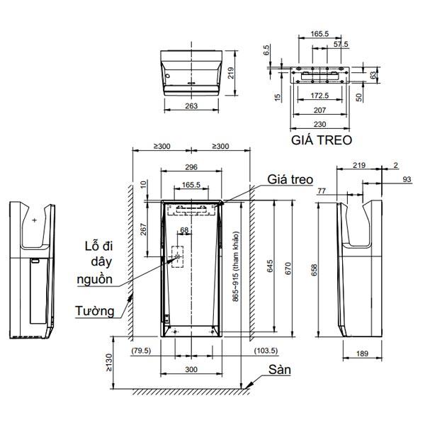 Bản vẽ kỹ thuật Máy sấy tay khô nhanh Inax JT-SB216KSN-W-E