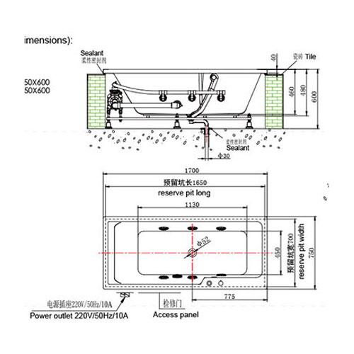 bản vẽ Bồn tắm massage INNOCI NB25706W-2
