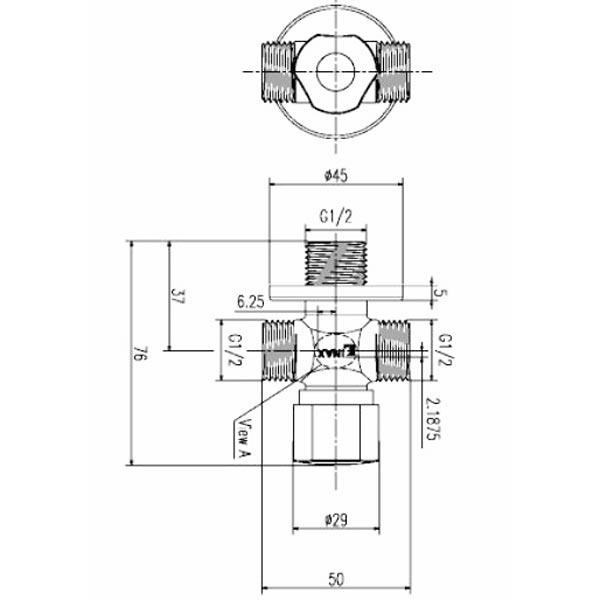Bản vẽ kỹ thuật Van vặn khóa chữ T Inax A-703-6
