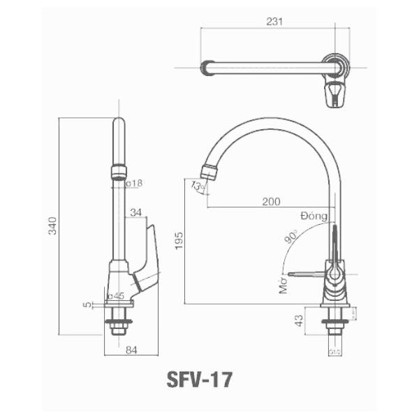 Bản vẽ kỹ thuật Vòi bếp rửa bát lạnh gắn chậu INAX SFV-17