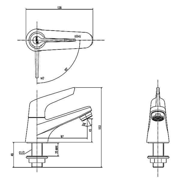 Bản vẽ kỹ thuật Vòi chậu rửa lavabo nước lạnh Inax LFV-17