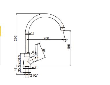Vòi rửa bát American FFAST606(WF-T606) lạnh