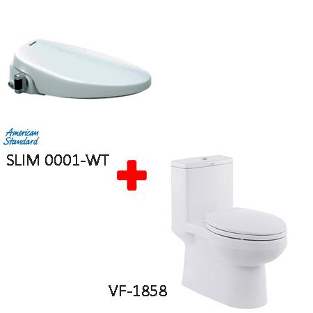 Bồn cầu American VF-1858+ nắp rửa SLIM00001-WT(1858S) (Combo American)