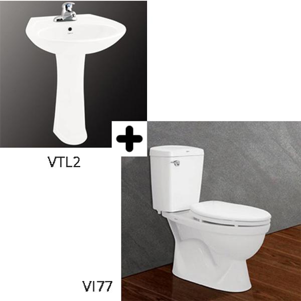 Bộ sản phẩm bồn cầu Viglacera VI77 + VTL2