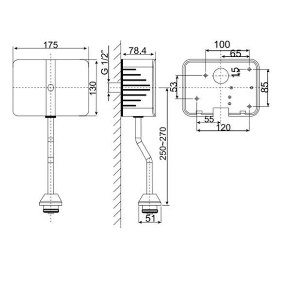 Van xả tiểu nam cảm ứng dương tường American WF-8609 (dùng pin)