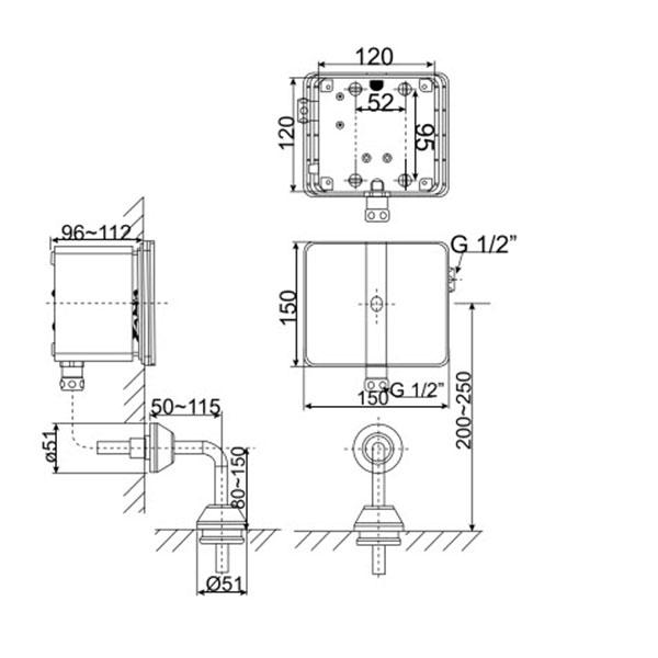 Van xả tiểu nam cảm ứng âm tường WF-8614 (dùng điện )