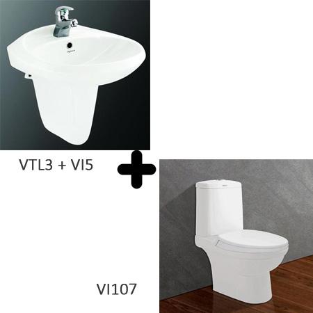 Bộ sản phẩm bồn cầu  Viglacera VI107 + VTL3