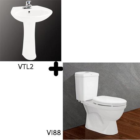 Bộ sản phẩm bồn cầu Viglacera VI88 + VTL2