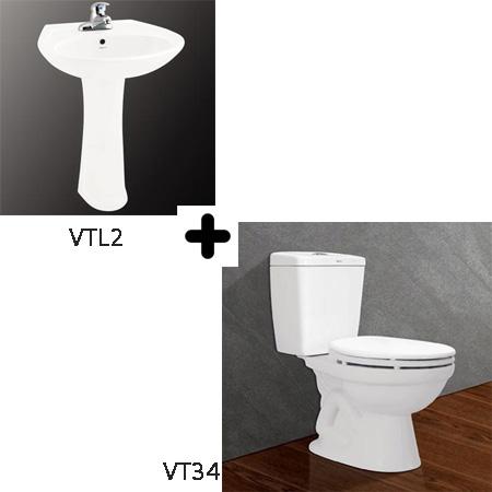 Bộ sản phẩm bồn cầu Viglacera VT34 + VTL2