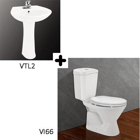 Bộ sản phẩm bồn cầu Viglacera VI66 + VTL2