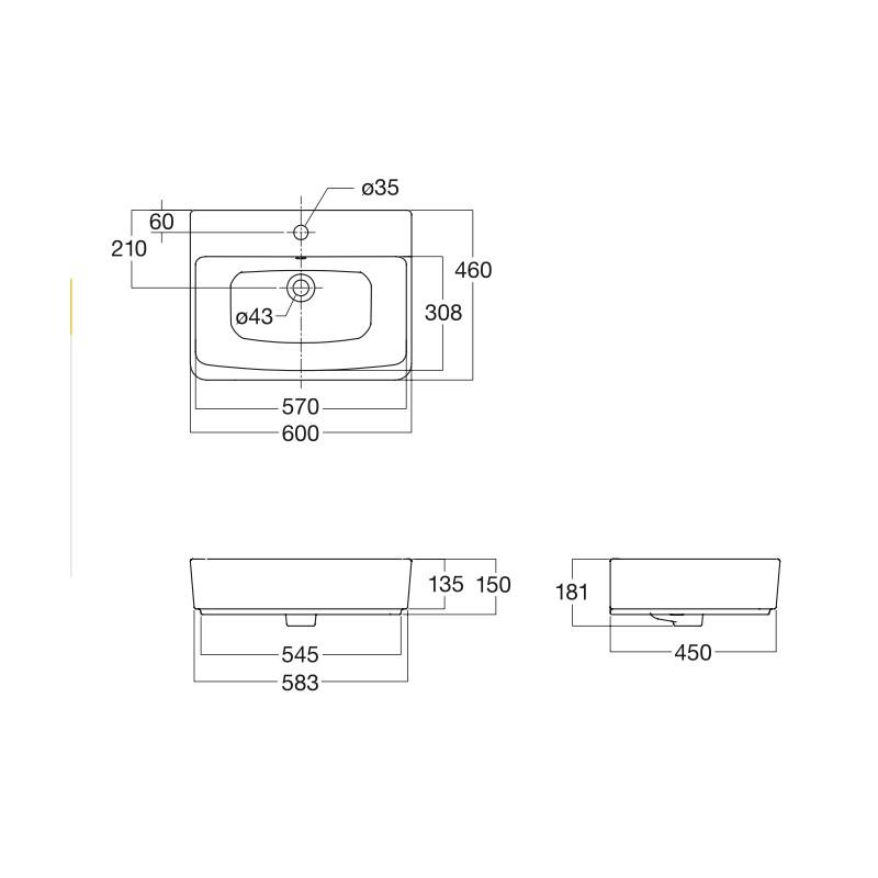 Chậu lavabo American Standard VF-0620 (Mã cũ WP-F520)