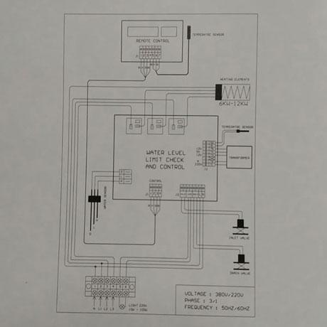 Sơ đồ đấu nối phần điện của máy xông hơi HELO