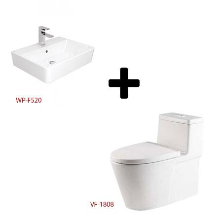Bộ sản phẩm bàn cầu 1 khối và chậu lavabo American VF-1808+WP-F520